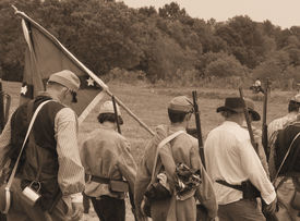 pic of rebs  - Confederate soldiers that survived the battle head home in defeat during Civil War reenactment - JPG