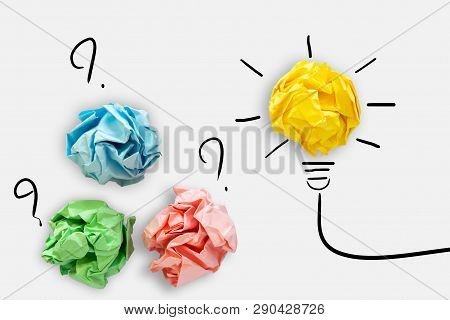 poster of Creative Idea Of Power Thinking Concept, Paper Lightbulb Design With Graphic Drawing Stroke Line. Br