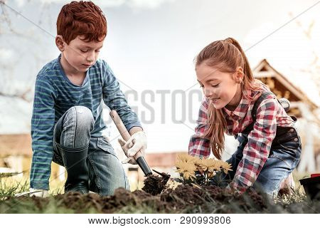 Brother And Sister Planting Flower