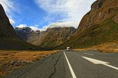 New Zealand Fiordland Mountain Highway Road Landscape at the Milford Sound