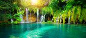 Waterfall Landscape Of Plitvice Lakes Croatia. poster