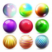 Shine Sphere Set Vector. Orb Shining Ball. Glowing Metal Or Plastic Abstract Circle. Glossy Shine Ic poster