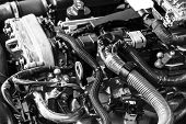 Car Gasoline Engine. Car Engine Part. Close-up Image Of An Internal Combustion Engine. Engine Detail poster