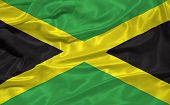 stock photo of jamaican flag  - illustration of waving Jamaican flag close up - JPG