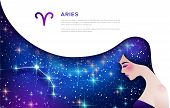 Aries Zodiac Sign Web Banner Template. Astrological Calendar Symbol As Female Character. Space And S poster