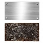 Shiny Brushed Metal Aluminum Or Steel Signboard. Rusty Steel Plate With Bolts And Rounded Corners. T poster