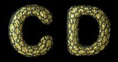 Realistic 3D letter set C, D made of gold shining metal. Collection of gold shining metallic with bl poster
