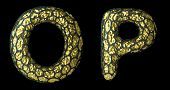 Realistic 3D letter set O, P made of gold shining metal. Collection of gold shining metallic with bl poster
