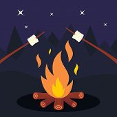 Bonfire And Marshmallow On Night Background. Friends In Night Camping Around Bonfire. Marshmallow Ve poster