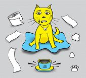 Naughty Cat Vector Illustration, Cat Play Toilet Paper, Pet Animal Bowls Without Food, Cat Cartoon M poster
