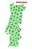 Vector Cannabis Portugal Map Mosaic. Template With Green Weed Leaves For Weed Legalize Campaign. Vec poster
