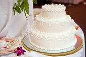 Three tiered wedding cake with white icing