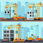 Sky Scraper Construction Flat Compositions With Building Site Of Tall Houses On City Background Vect poster