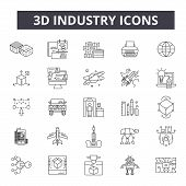 3d Industry Line Icons. Editable Stroke Signs. Concept Icons: Industrial Design, Technology, Factory poster