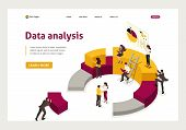Isometric Collecting And Analyzing Data, People Collect A Chart. Website Template Landing Page poster