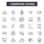 Camping Line Icons For Web And Mobile Design. Editable Stroke Signs. Camping  Outline Concept Illust poster