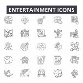 Entertainment Line Icons For Web And Mobile Design. Editable Stroke Signs. Entertainment  Outline Co poster