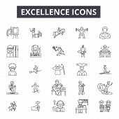 Excellence Line Icons For Web And Mobile Design. Editable Stroke Signs. Excellence  Outline Concept  poster