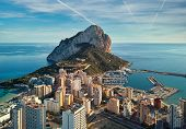 Drone Point Of View Rock Of Penon De Ifach, Harbor, Mediterranean Sea Rooftops Of Houses Calpe Citys poster