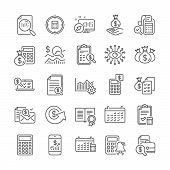 Accounting Line Icons. Set Of Check Investment, Calculator And Report Icons. Calendar, Banking Accou poster