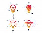 Light Lamp Icons. Circles Lamp Bulb Symbols. Energy Saving. Idea And Success Sign. Random Dynamic Sh poster
