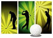 Silhuetas de golfista do vetor