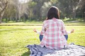 Girl In Checked Shirt And Jeans Meditating In Park. Rear View Of Young Woman Sitting On Grass In Lot poster