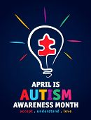 Colorful Design Word World Autism Awareness Day With Puzzle Inside Bulb. World Autism Awareness Day  poster
