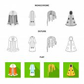 Isolated Object Of Material And Clothing Sign. Set Of Material And Garment Vector Icon For Stock. poster