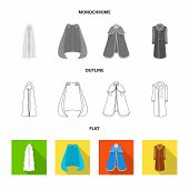 Vector Illustration Of Material And Clothing Sign. Collection Of Material And Garment Vector Icon Fo poster
