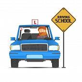 Driving Instructor. Driving Courses Template Design. White Background. Internet Concept. Digital Des poster