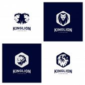 Set Of Lions Logo Design Concept. King Lions Logo Design Template Vector. Icon Symbol poster