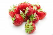 Fresh Juicy Strawberry On White Background, Summertime poster