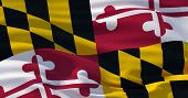Fluttering Silk Flag Of Maryland State, United States Of America. Maryland Flag In The Wind, Colorfu poster