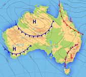 Weather Forecast. Meteorological Weather Map Of The Australia. Realistic Synoptic Map Australia With poster