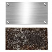 Shiny Brushed Metal Aluminum Or Steel Signboard With Screw. Rusty Steel Plate With Bolts. Texture An poster