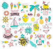 Big Summer Set Of Sun And Fun Hand Drawn Elements Such As Boat, Sun, Drinks And Fish, Crab, Palm, Fr poster