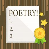 Word Writing Text Poetry. Business Concept For Literary Work Expression Of Feelings Ideas With Rhyth poster