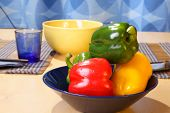 Colorful Bell Peppers On Plate poster