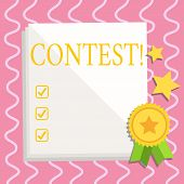 Text Sign Showing Contest. Conceptual Photo Game Tournament Competition Event Trial Conquest Battle  poster