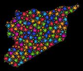 Bright Vector Cannabis Syria Map Mosaic On A Black Background. Template With Psychedelic Weed Leaves poster