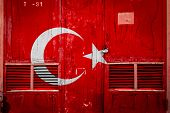 Close-up Of Old Warehouse Gate With National Flag Of Turkey. Concept Of Turkey Export-import, Storag poster