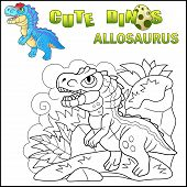 Cartoon Cute Prehistoric Dinosaur Allosaurus, Funny Illustration poster