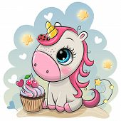 Cute Cartoon Unicorn With Cupcake On A Blue Background poster