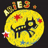 naive horoscope, hand drawn sign of the zodiac aries