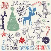 Kritzeln Sie, Weihnachten, lustige Kritzeleien, handgezeichnete Design-Elemente