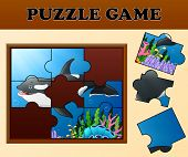 Killer Whale In Undersea With Puzzle Concept poster