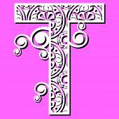 openwork alphabet, letter T