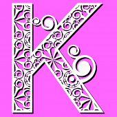 openwork alphabet, letter K