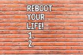 Conceptual Hand Writing Showing Reboot Your Life. Business Photo Showcasing Start New Career Meet Ne poster